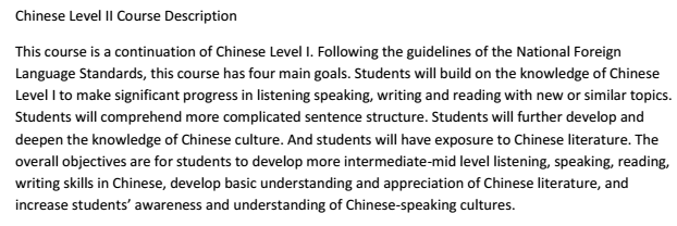 Chinese Level II Course Description