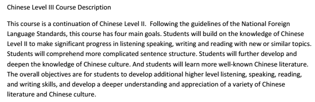 Chinese Level III Course Description